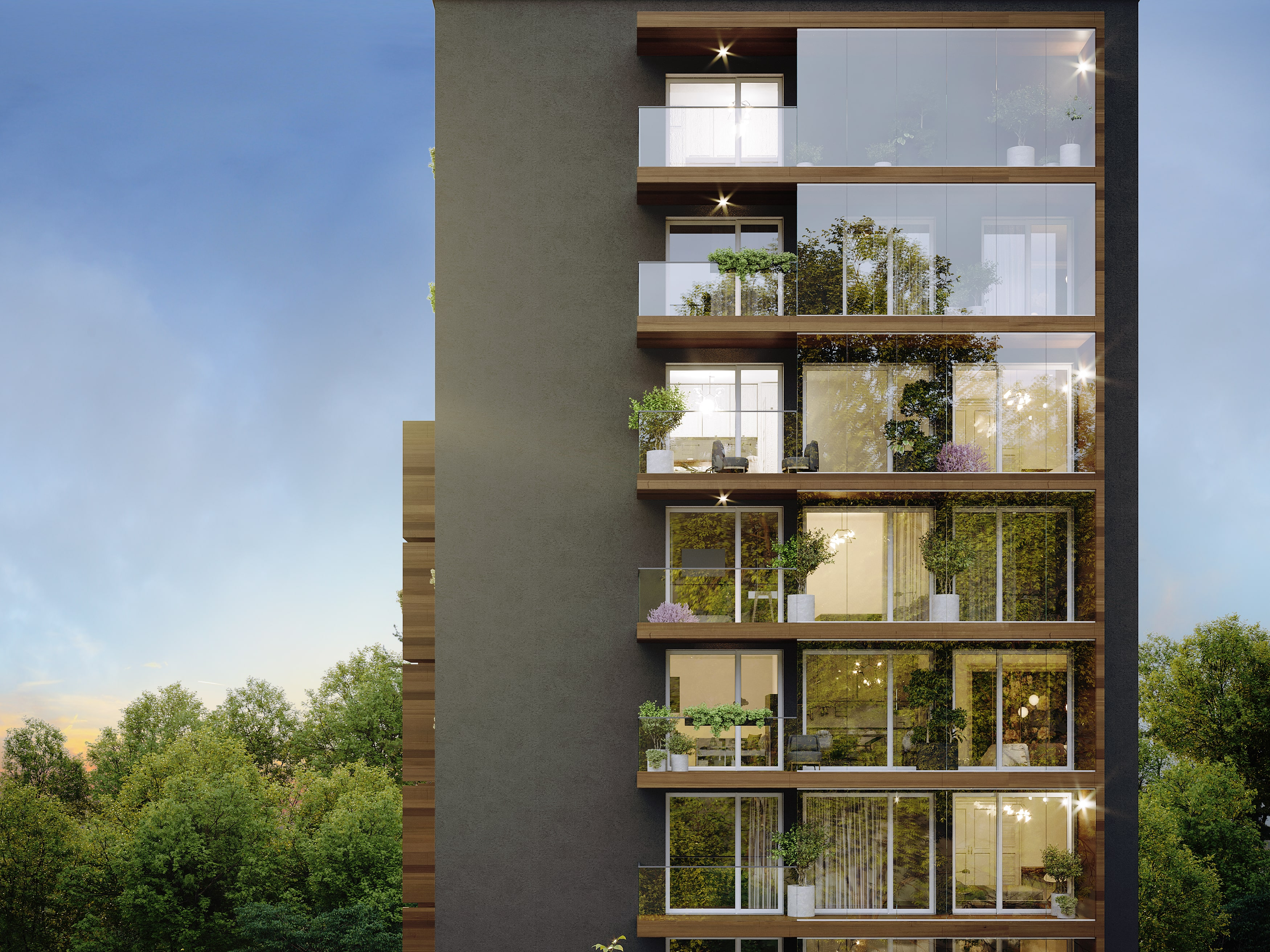 Modern apartments with French windows. Residential project View Spořilov Prague 4 - Záběhlice. Developer GARTAL