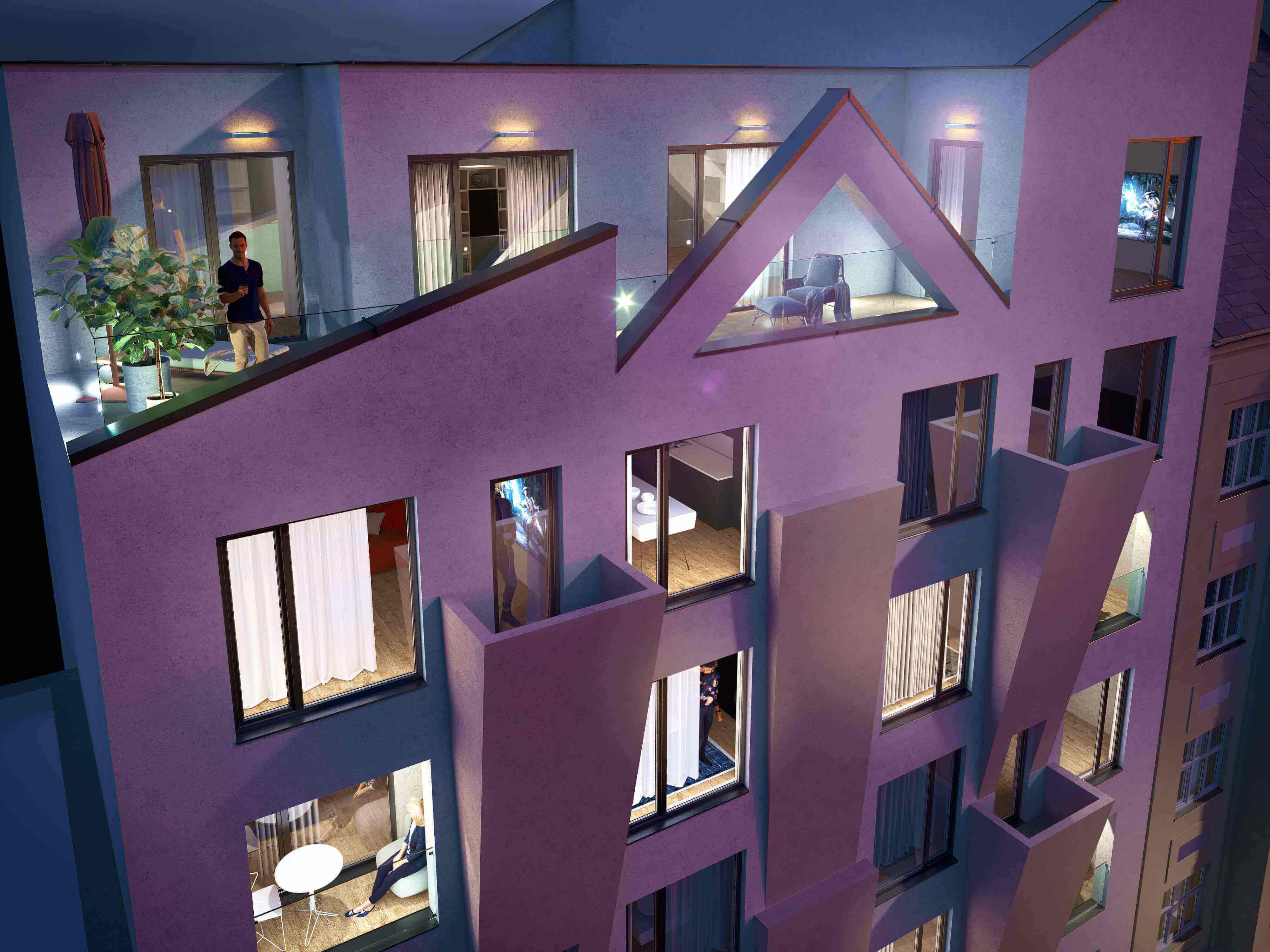 Apartments by the metro station. Residential project Harfa Yard near the Českomoravská metro station, the O2 arena and the Harfa Shopping Mall. Developer GARTAL