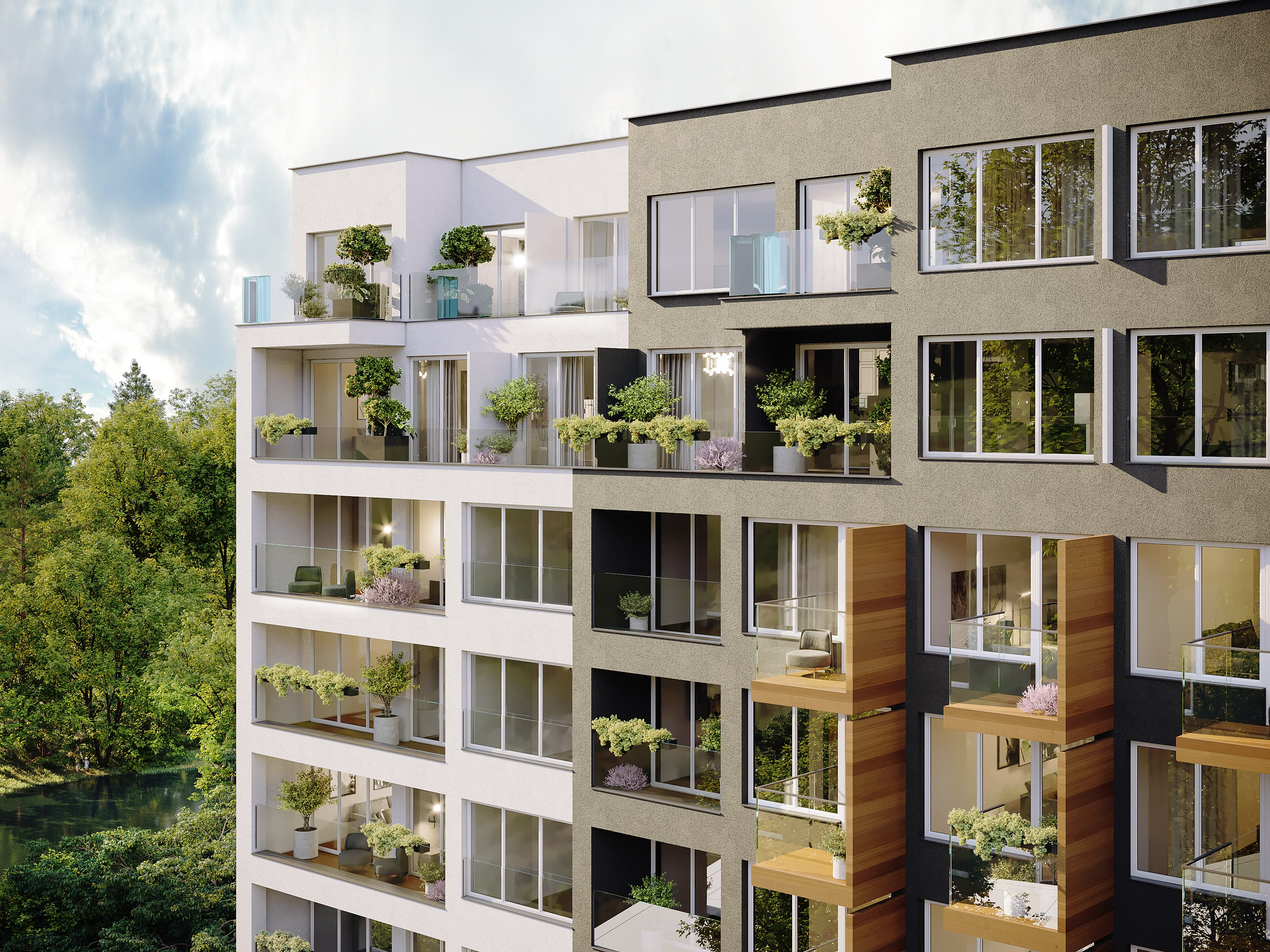 Moderní byty s francouzskými okny. Novostavba View Spořilov Praha 4 - Záběhlice. Developer GARTAL